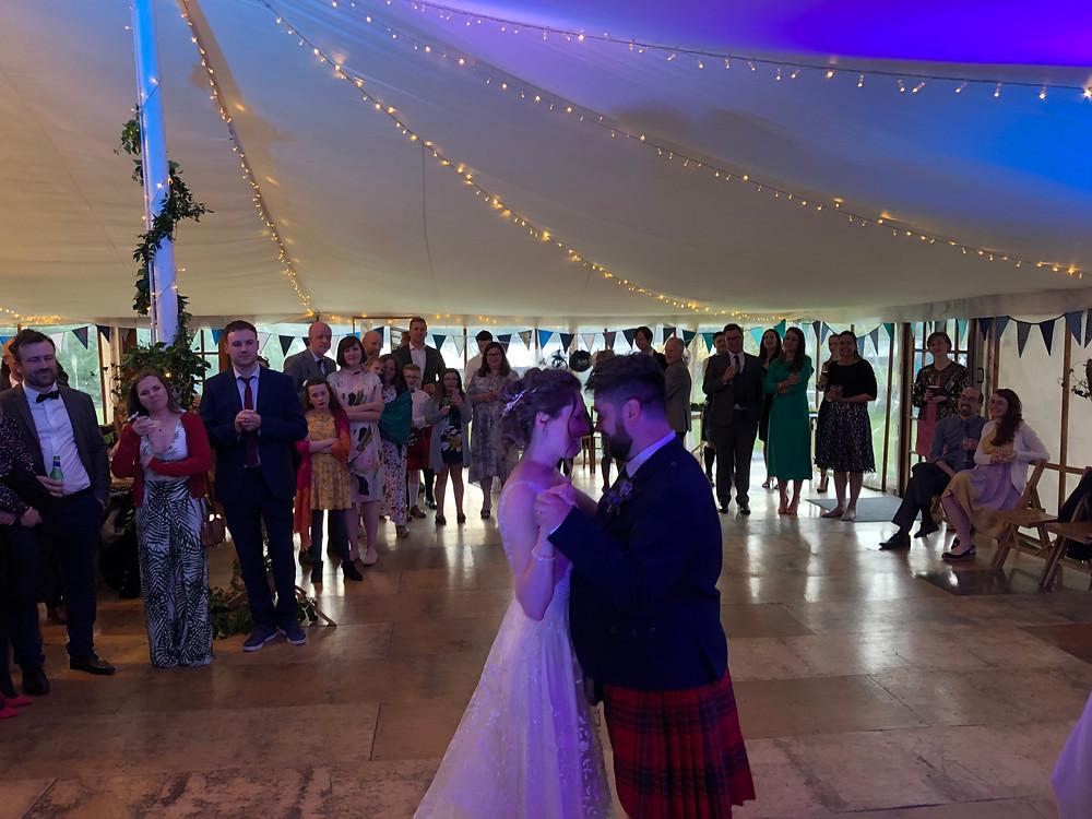Rachel & Duncan's first dance at Ardkinglas Estate