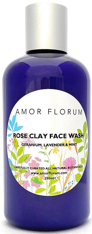 Natural pH 5.5 BALANCED ROSE CLAY FACE WASH - GERANIUM, LAVENDER & MINT- 250 ml