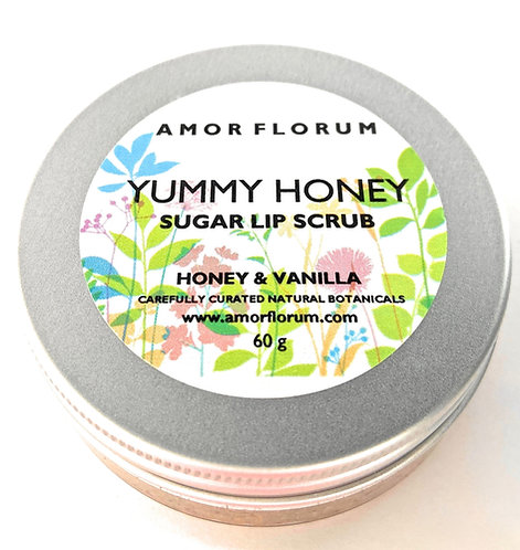YUMMY HONEY - SUGAR LIP SCRUB with HONEY & VANILLA, JOJOBA OIL & VITAMIN E - 60g