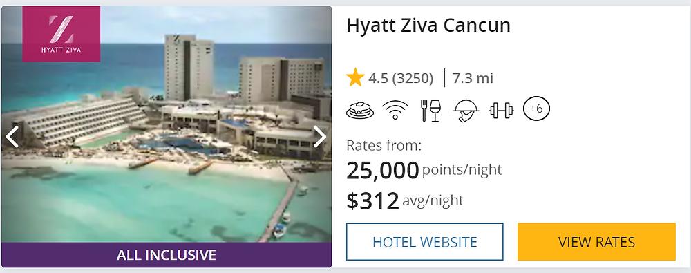 Points Diva Hyatt Ziva Cancun Cost