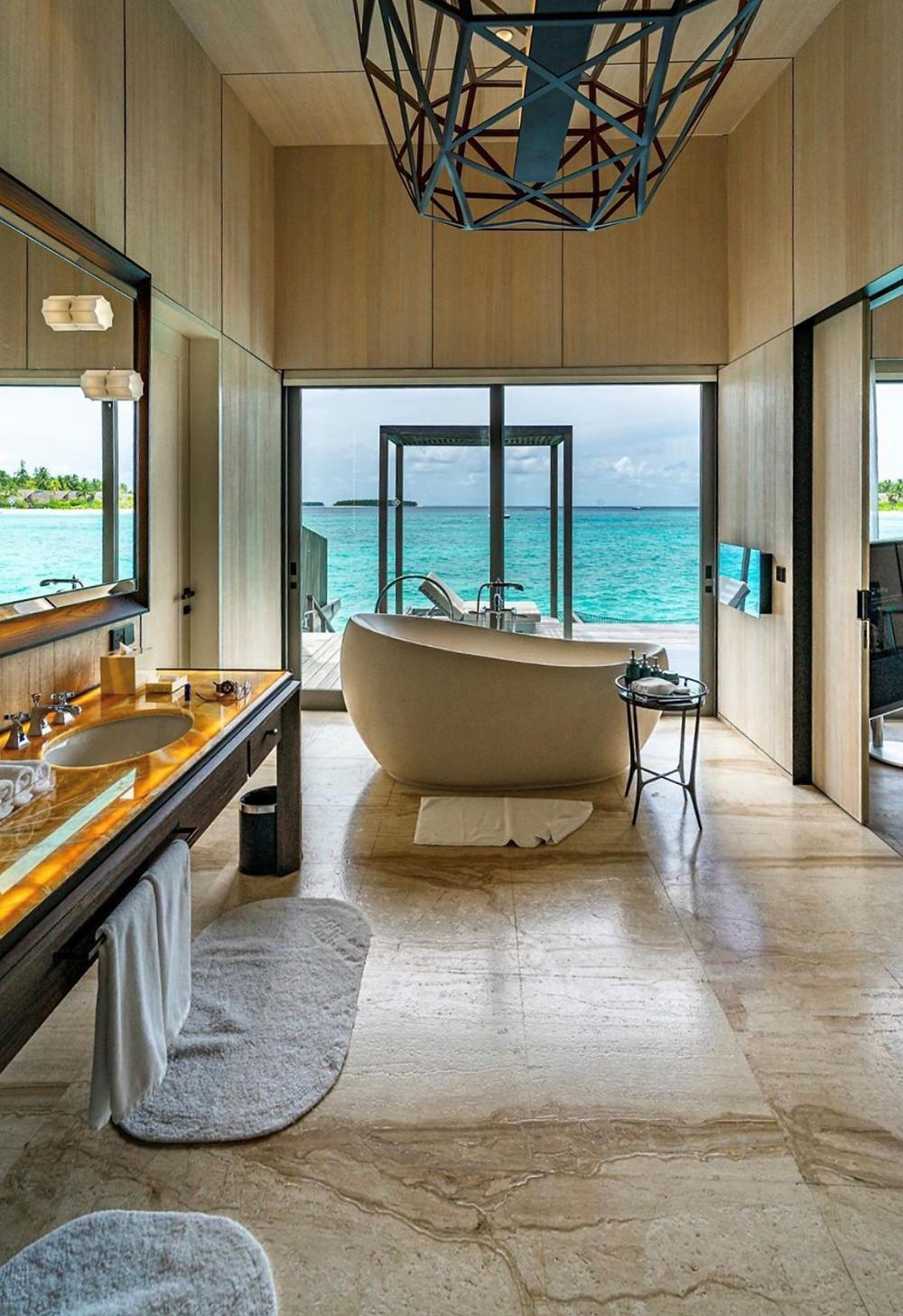 Overwater Bungalow Bathroom with Ocean Views