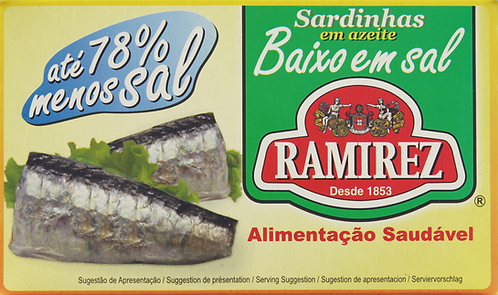 Sardinhas em Azeite Baixo em sal Ramirez |125gr