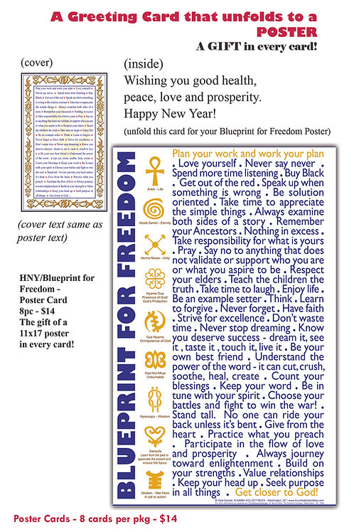 8 Poster Cards - HNY/Blueprint for Freedom