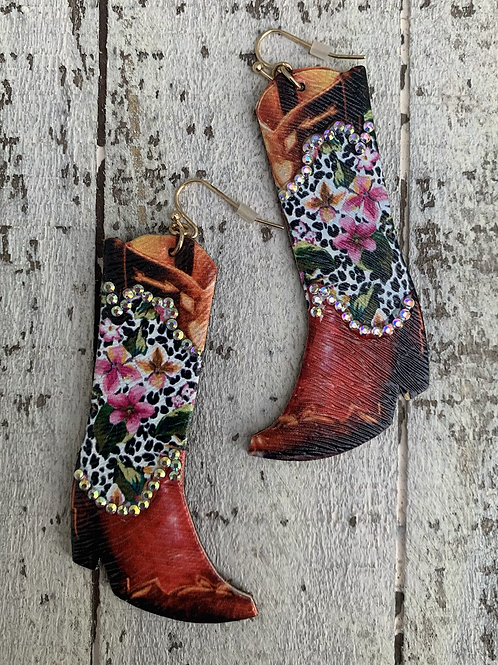 Leather Boot Cowgirl Earrings