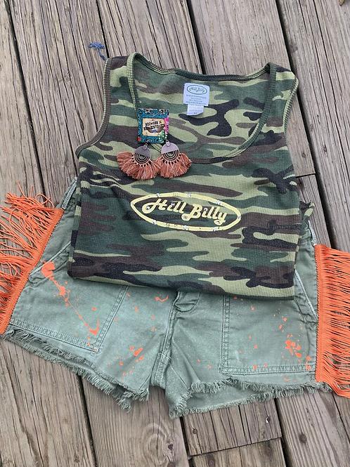 Orange Fringe Army Shorts