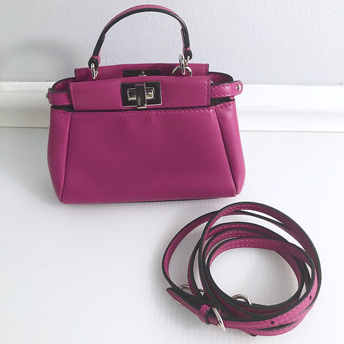 FENDI Peekaboo Micro Leather Crossbody Shoulder Bag
