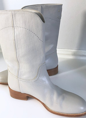 Chanel Western Cowboy Boots Gray Women's Size 40 US 9 9.5