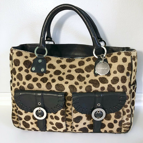 GIVENCHY Leopard Pony Hair Tote Bag Purse Handbag
