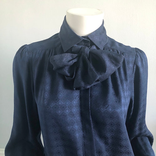 Vintage Gucci Navy Blue Silk Pussy Bow Blouse Size S M