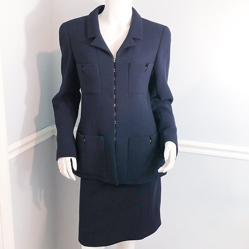 Chanel Boutique Blue Jacket Skirt Suit Wool Size FR 42 US 10