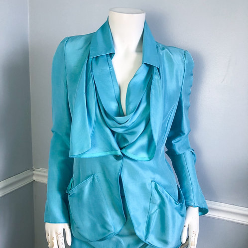 Emporio Armani Turquoise Blue Silk Jacket and Top Suit Set Size Italian 42 46