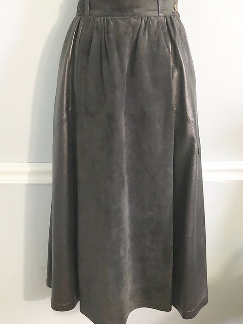 Gucci Women's Leather Suede Skirt Vintage Size 42 US 8