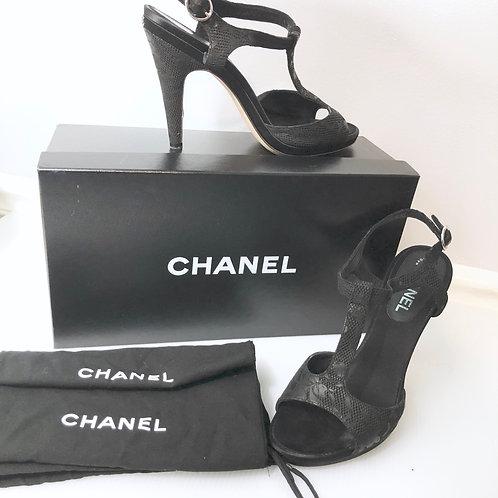 Chanel Black Goatskin T-Strap Heeled Sandals Shoes Women's EU Size 40 US 9 9.5