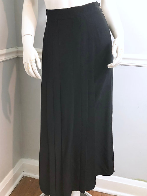 CHANEL Boutique Pleated Midi Skirt Silk Size 42