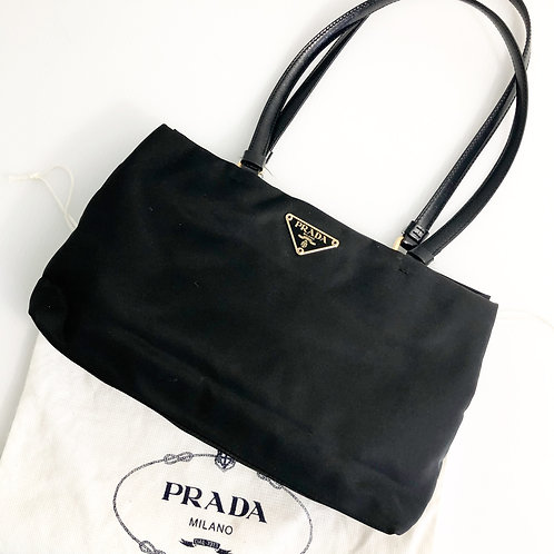 PRADA Black Nylon Small Tessuto Shoulder Bag