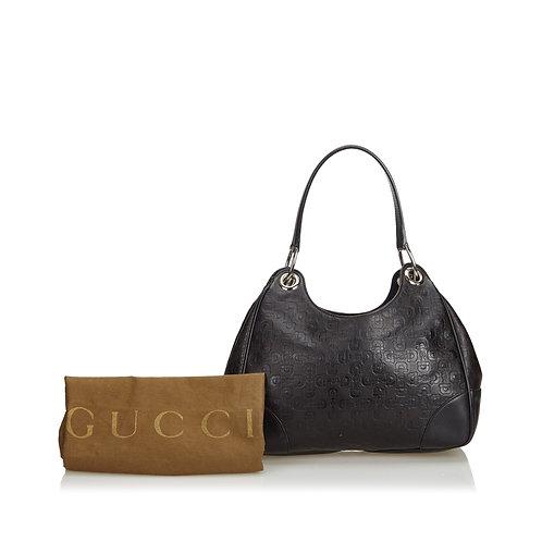 Gucci Embossed Leather Horsebit Shoulder Bag