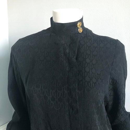Vintage Hermes Black Silk Blouse Size FR 36 US S