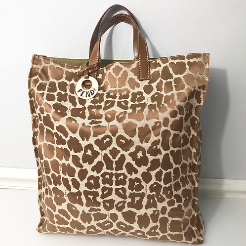 Fendi Leopard Animal Print Tote Bag