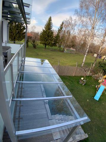 Hausbauprojekt: Vordach Dachau Metall Glas