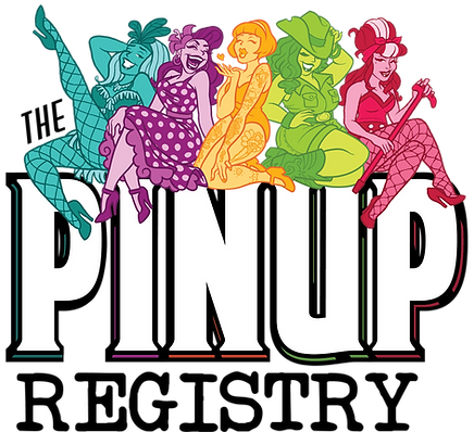 Pinup Registry Logo - 5 diverse illustrated pinups sit atop the words The Pinup Registry