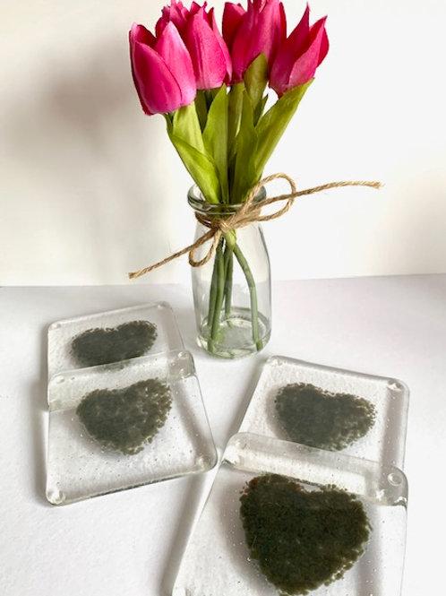 Gray heart coasters - set of 4