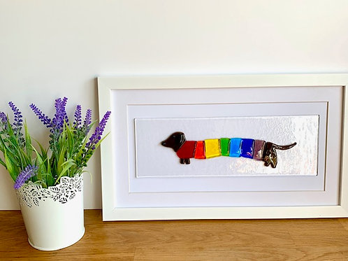 Sausage dog fused glass picture