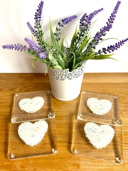 Vanilla heart coasters - set of 4