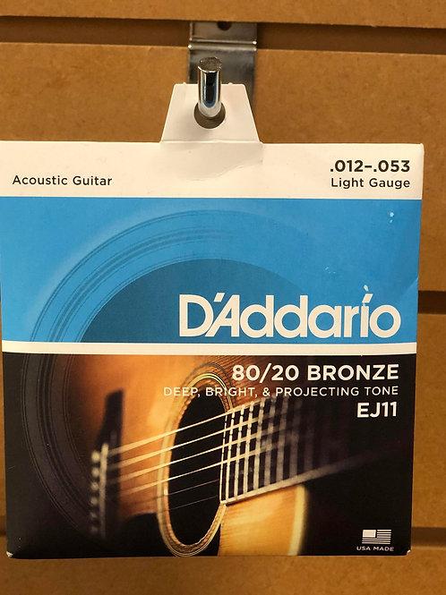 D'Addario 80/20 Bronze Acoustic Guitar Strings 12 - 53