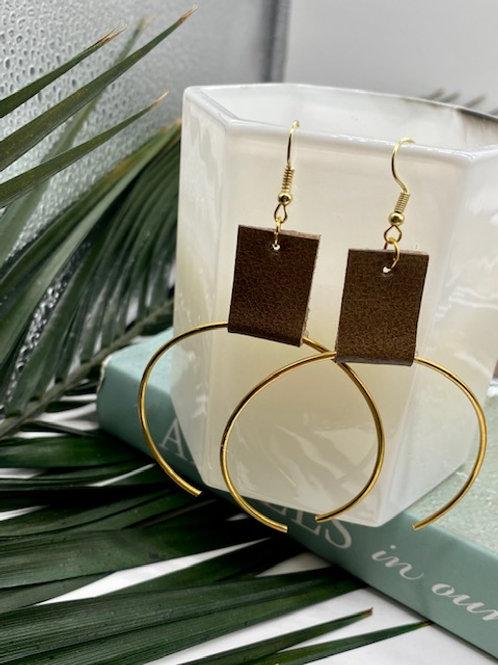 Brown // Gold Ecliptic Earring Medium