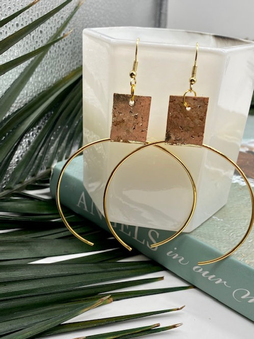 Cork // Gold Ecliptic Earring Large