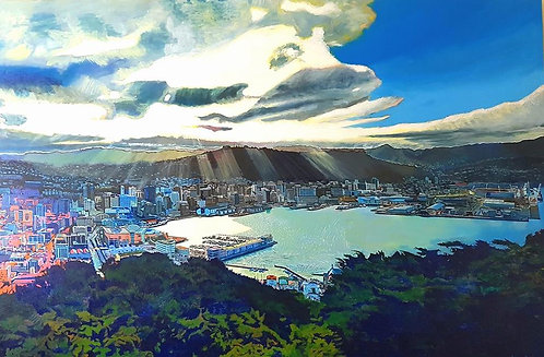 Sun Rays Over Wellington City