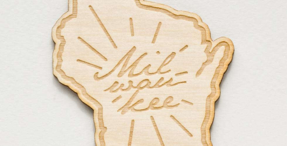 Milwaukee Wisconsin Wood Magnet