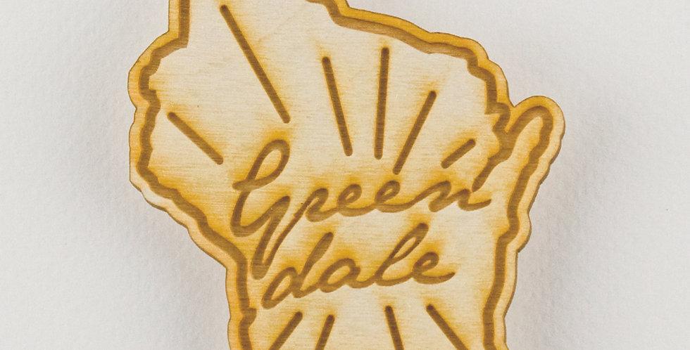 Greendale Wisconsin Wood Magnet