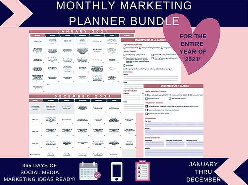 Monthly Marketing Planner Bundle (For Year 2021)