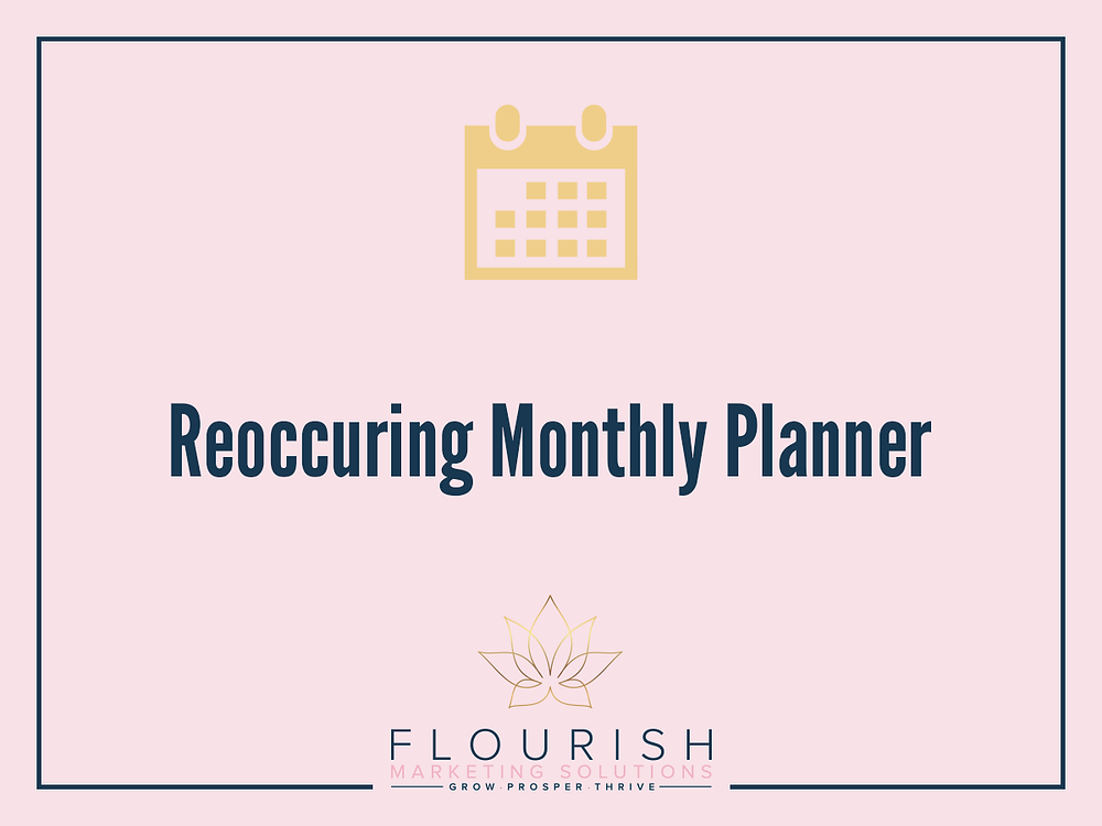 Re-Occuring Social Media Monthly Planner