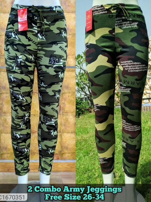 Women's Cotton Blend Camouflage Jeggings Buy 1 Get 1 Free