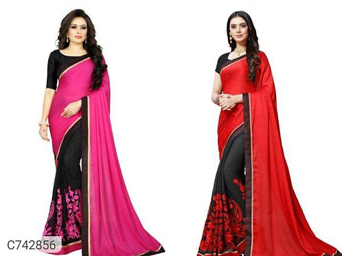 *Catalog Name:* Beautiful Crepe Solid With Embroidery Regular Sarees (Set of 2)