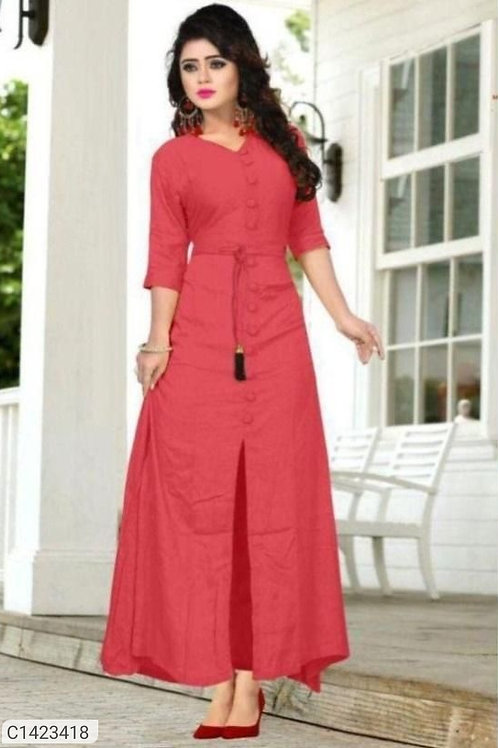 Attractive Solid Rayon Gown