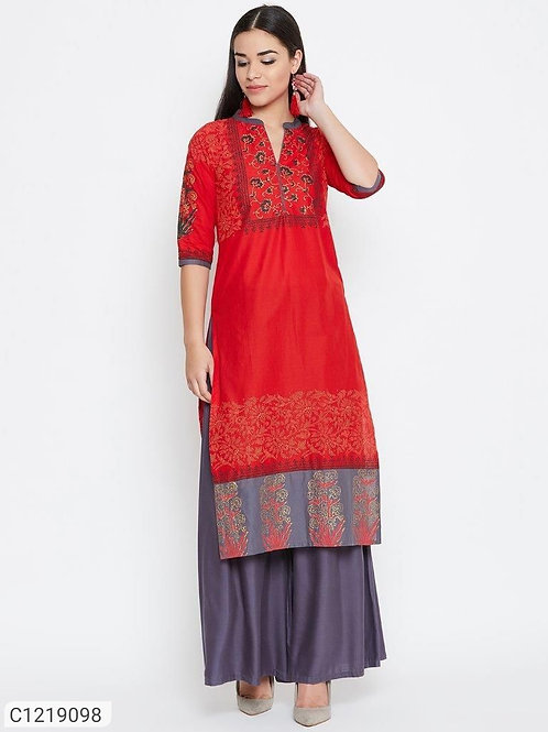Authentic Ankle Length Cotton Solid With Printed Kurti