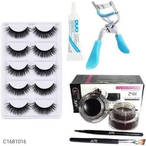 5 Pair Eyelash, Glue, Curler, Gel Eyeliner Black and Brown