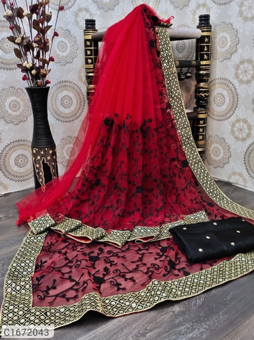 Beautiful Embroidered Net Saree