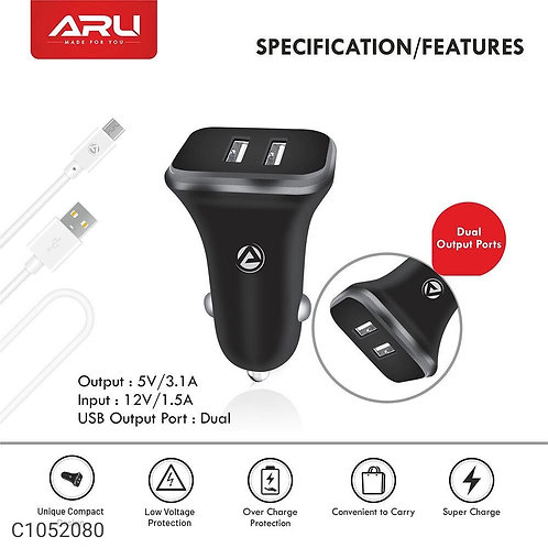 ARU ACC-31 3.1 Amp Dual Port Car Charger With Charge & Sync USB cable