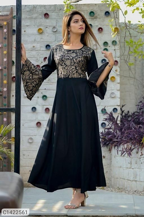 Attractive Printed  Rayon Gown