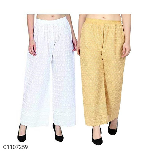 Buy 1 Get 1 Women's Rayon Solid Chikankari Palazzos