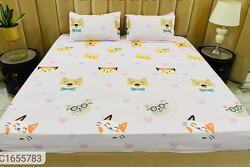 Cartoon Printed Fitted Double Bedsheet with Elastic