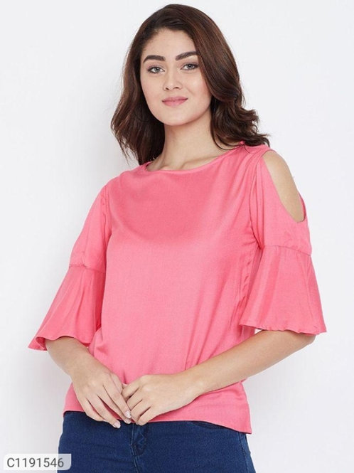 AASK Women's Rayon Solid Cold Shoulder Top