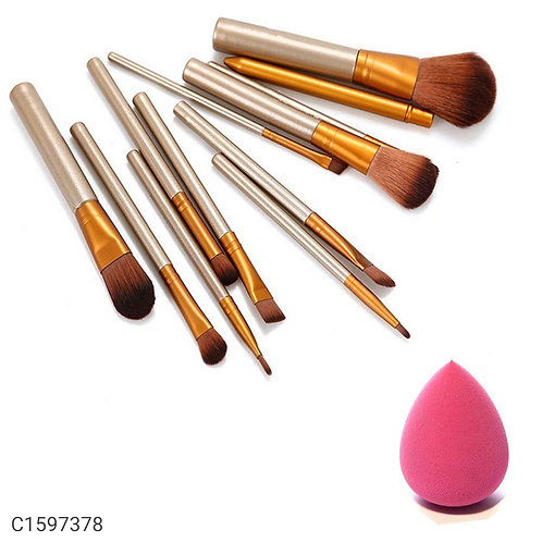 12 set of makeup brushes with sponge puff with storage box