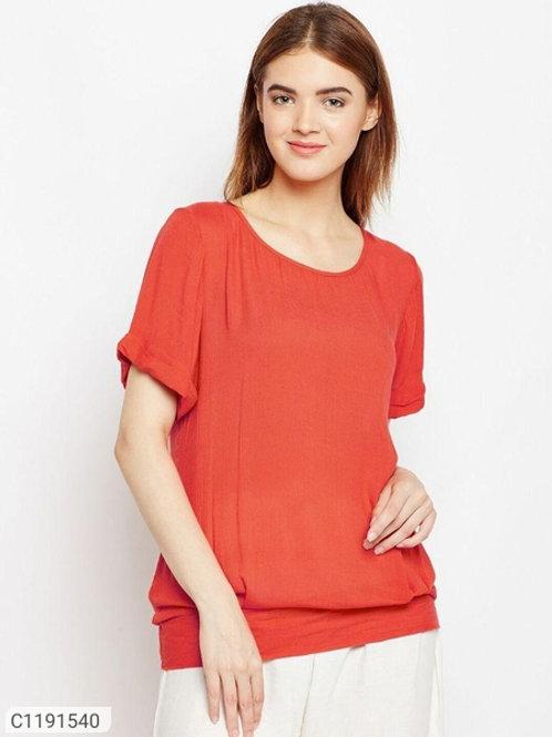 AASK Women's Rayon Solid Half Sleeve Top