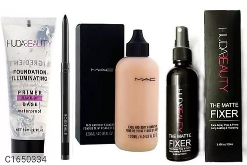 Combo of kajal , primer , face foundation and makeup fixer