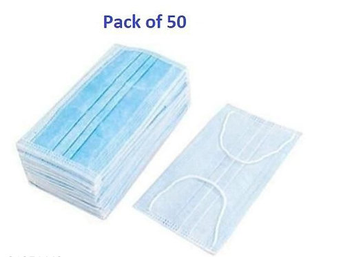 Disposable 3 Ply Surgical Face Masks (Pack of 50)
